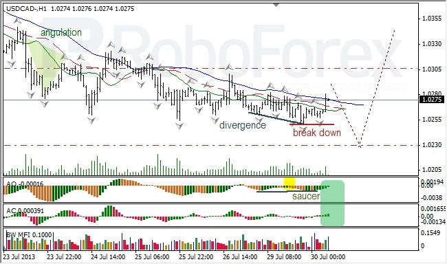 Анализ индикаторов Б. Вильямса для USD/CAD на 30.07.2013