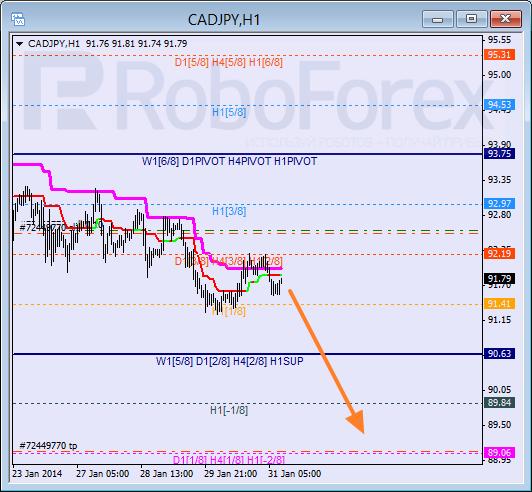 Анализ уровней Мюррея для пары CAD JPY Канадский доллар к Японской иене на 31 января 2014